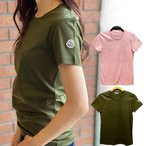 MONCLER モンクレール Tシャツ KHAKI カーキ PINK ピンク ロゴT シンプル ロゴワッペン 無地 80862008390X レディース トップス