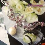 フォーマル仕様ラベンダーカラーの妖精のようなスワロフスキーホワイトパール&お花ネックレス披露宴向