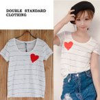DOUBLE STANDARD CLOTHING ダブルスタンダード ボーダーステッチUネックTシャツ 0208-000-172/2017春夏