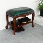 アンティーク風 棚付きベンチスツール ブラウン ベンチ スツール 玄関椅子 腰掛 天然木