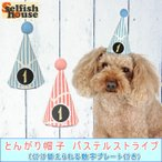 Yahoo!犬の服 Selfish House犬猫用 お誕生日 とんがり帽子 パステルストライプ 1〜9歳 プレゼント グッズ バースデー パーティハット ハンドメイド 受注制作