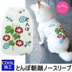 犬 服 夏 クール加工 冷感 とんぼ朝顔ノースリーブ タンクトップ スイカ Tシャツ 白 和 小型犬 中型犬 PQ