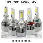 特売セール LEDヘッドライト/フォグランプ COBチップ H1/H3/H4/H7/HB3/HB4/H8/H11/H16 6000k 72W 7600ルーメン2本 1年保証 e-auto fun