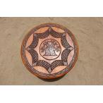 アフリカ民芸品 セネガル産 木製机 ハンドメイド 円卓 テーブル (バオバブの木)