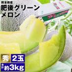 メロン ギフト 肥後グリーン 秀品 2玉 3L以上 4kg〜 熊本県産 植木町 常温便 同梱不可 指定日不可