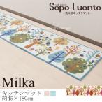 ショッピングキッチンマット キッチンマット 北欧 約45×180cm SopoLuonto ミルカ ブルー/ベージュ