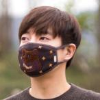 [韓国雑貨] 冬の動物たちが刺繍された ニット素材の優しいマスク《BEAR》[ ファ…