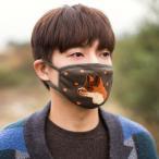 [韓国雑貨] 冬の動物たちが刺繍された ニット素材の優しいマスク《FOX》[ ファッ…