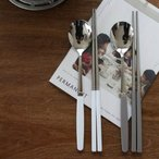 [韓国雑貨]どこか懐かしい雰囲気の  お箸&スプーン2膳セット (10color)   [韓国...