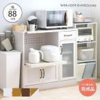 [予約販売]レンジ台 完成品 幅90 コンパクト 食器棚 ロータイプ 収納 キッチン収納 キッチン収納棚 キッチンカウンター レンジボード 幅88cm LUFFY LUK80-90L