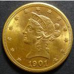 1901年アメリカ10ドル金貨、美品