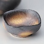 ☆ 刺身 ☆黒柚子結晶金彩千代久 [ 7.5 x 7.5 x 3cm 85g ] 【 料亭 旅館 和食器 飲食店 業務用 】