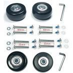 4車輪静音シリーズキャスター 車輪用交換タイヤキット スーツケース ショッピングカート(ブラック, 車輪43×6×18mm車軸30,35mm)