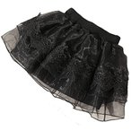 ラクエスト ふんわり レース 黒 シフォン スカート 入学式 卒業式 フォーマル キッズ ジュニア 女の子(ブラック, 170)