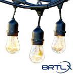 ストリングライト 防雨型 15m E26 S14 エジソンランプ タングステン電球18個付き クリスマス イルミネーション ハロウィン 黒