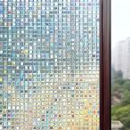 3D窓用フィルム ガラスフィルム 浴室目隠しシート 断熱 紫外線カット 無接着剤 43214-412(湖輝, 44.5cm*200cm)
