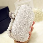 ショッピングクラッチ クラッチバッグパール鞄パーテイーバック手持ち結婚式ホワイト/イエロー2色選択可