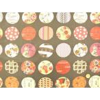 YUWA 小関鈴子先生デザインプリントコットン アップリケ風丸パッチ柄 チャコールグレー