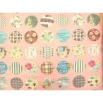 YUWA 小関鈴子先生デザインプリントコットン アップリケ風丸パッチ柄 ピンク
