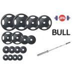 (オリンピックバーベル)BULL Φ50mmラバープレートセット135kgセット(シャフト:BL-OPMメッキ)(JPA規格仕様)