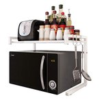 JOOCII レンジ台 幅伸縮式(幅40-60cm) 電子レンジ上ラック 2段式 キッチン 収納 棚 トースター ラック