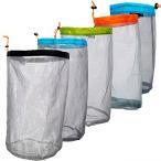 巾着式 メッシュ収納袋 サック 洗濯ネット 超軽量 大容量 ホーム 旅行 キャンプ 万能収納ポーチ 重複利用可 5サイズ(S ブルー)