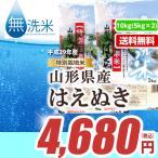 無洗米 山形県産はえぬき10kg(5kg×2)平成28年産 ≪特別栽培米≫ 送料無料(一部地域除く)