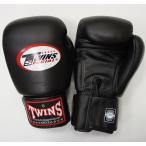 新 TWINS ツインズ 本革製キックボクシング グローブ 黒 12オンス