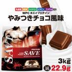 ホエイプロテイン 3kg チョコ 激安 最安値 送料無料 SAVE プロテイン やみつきチョコ風味 WPC 乳酸菌 バイオペリン エンザミン酵素