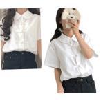 チャイナ 白シャツ チャイナシャツ ブラウス アジアンテイスト 半袖 チャイナボタン 和風 和服  送料無料