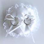 ラウンドのミニリングピロー ホワイト(直径約10cm)完成品(パール付きリングクッション)結婚式 ウェディング アレンジ 花嫁diy