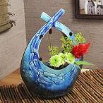 信楽焼き清流扁平結び花器 やすらぎを感じさせる信楽焼の花入れ。ギフトにも最適な花器【ha-0167】『あすつく』