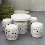 信楽焼 20号  テーブルセット 庭園 ベランダ 陶器 テーブル イス ガーデンテーブルセット te-0001