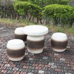 信楽焼 15号  テーブルセット 庭園 ベランダ 陶器 テーブル イス ガーデンテーブルセット te-0010