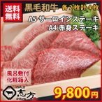 【お中元 贈答品 ギフト 御中元】黒毛和牛 A5サーロインステーキ&A4 赤身ステーキ 各2枚 計4枚 牛肉 ステーキ