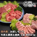 国内産 お試しセット 牛肉&豚肉&鶏肉 6点セット 2kg
