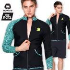 ショッピングラッシュ MOWAVE モワビ ラッシュガード プレミアム ネオプレン テロン ジップアップ ジャケット メンズ 男性 長袖 ビーチウェア アンダーウェア UVカット UPF50+