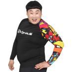 ショッピングラッシュ MOWAVE モワビ ラッシュガード ビックサイズ ピカソ ブラック メンズ 男性 長袖 大きいサイズ ビーチウェア アンダーウェア UVカット UPF50+