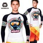 ショッピングラッシュ MOWAVE モワビ ラッシュガード キングコング ホワイト/ネイビー メンズ 男性 長袖 ビーチウェア アンダーウェア UVカット UPF50+