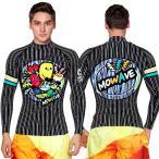 ショッピングラッシュ MOWAVE モワビ ラッシュガード モンスターフレンズ ブラックストライプ メンズ 男性 長袖 ビーチウェア アンダーウェア UVカット UPF50+