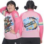 ショッピングラッシュ MOWAVE モワビ ラッシュガード ビックサイズ ツリーマスク ピンク レディース 女性 長袖 ビーチウェア アンダーウェア UVカット UPF50+