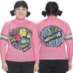 ショッピングラッシュ MOWAVE モワビ ラッシュガード ビックサイズ モンスターフレンズ ピンクストライプ レディース 女性 長袖 ビーチウェア アンダーウェア UVカット UPF50+