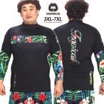 ショッピングラッシュ MOWAVE モワビ ラッシュガード ビックサイズ トロピカル ブラック メンズ 男性 長袖 大きいサイズ ビーチウェア アンダーウェア UVカット UPF50+