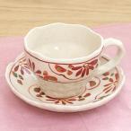 コーヒーカップソーサー 赤絵小花 和陶器 陶芸 コーヒーカップ カフェ 食器 業務用