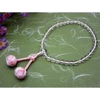 女性用片手念珠 水晶 三色かがり梵天房 仏具 数珠 念珠