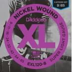 D'Addario ダダリオ EXL120/8 エレキギター弦 XL Nickel Round Wound スーパーライトゲージ 009-065 〔8弦用〕