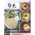 ギフト フルーツ 詰め合わせ ご贈答用 御祝 御礼 お供え 送料無料 静岡温室マスクメロン 1.2kg×1玉 梨、りんご計3玉入り 詰め合わせ C