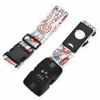 kroeus(クロース)スーツケースベルト 荷物固定 十字型 TSAロック付 ラゲージベルト ネームタグ トラ