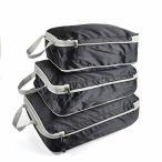 Meowoo トラベル圧縮バッグ 3点セット 旅行ポーチ ファスナー スペース節約 衣類仕分け 出張 簡単圧縮 旅行用品