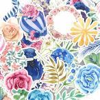 Lily おしゃれな美しい花と熱気球の防水ステッカー/人気かわいいスッテカー 子供 DIY 手作り 手帳シール 日記